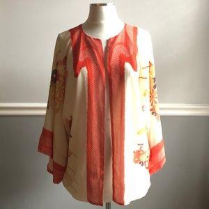 Zara Cream and Orange Floral Light Kimono Cardigan